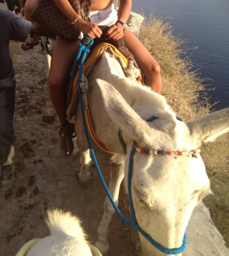 Riding a donkey